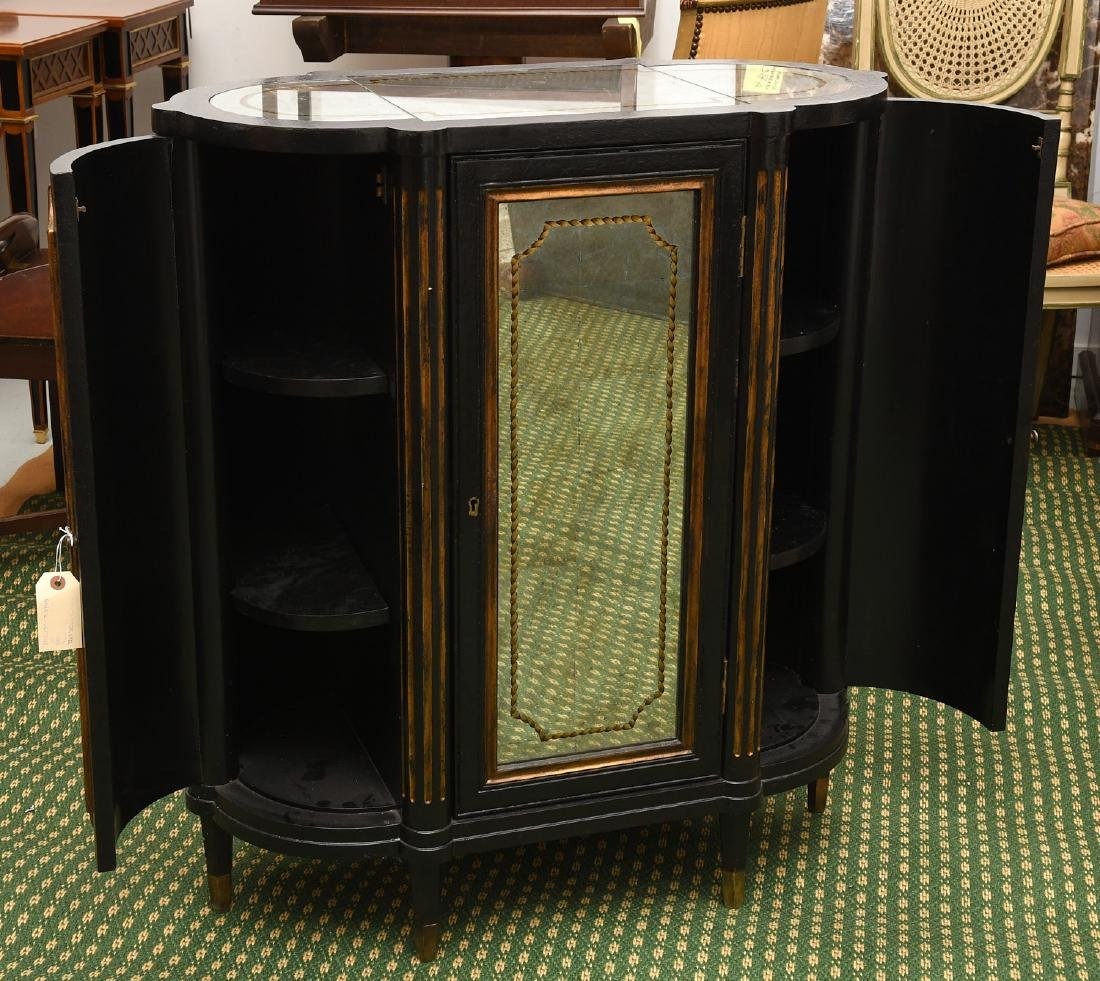 Decorator black lacquered mirrored cabinet - 2
