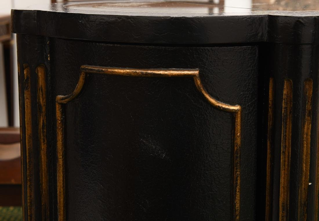 Decorator black lacquered mirrored cabinet - 7
