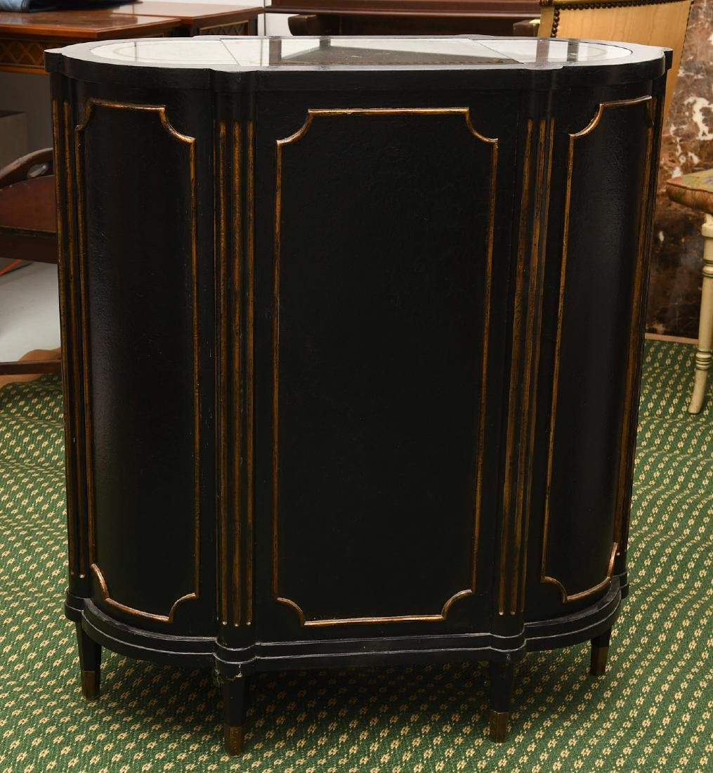 Decorator black lacquered mirrored cabinet - 8