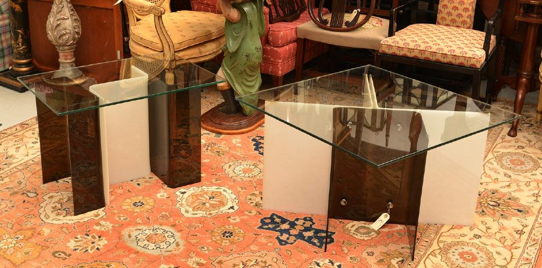 Pair Space Age acrylic side tables