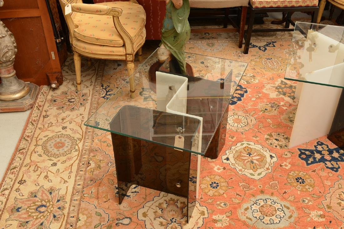 Pair Space Age acrylic side tables - 2