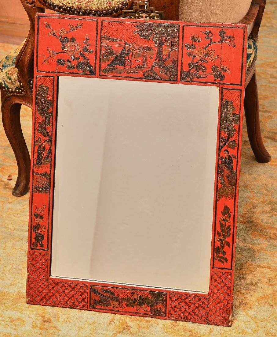 Chinese carved and red lacquered wall mirror
