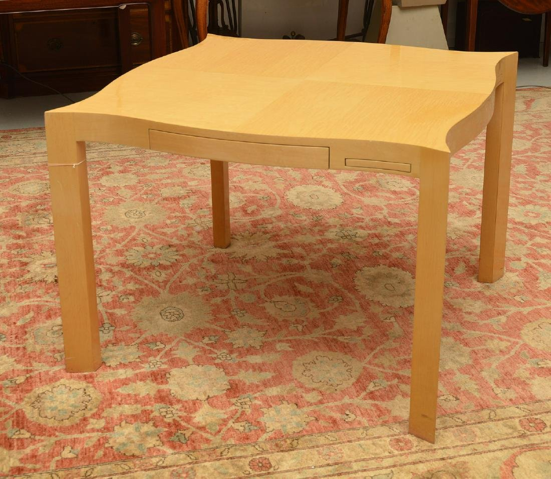Designer shaped blonde wood bridge table