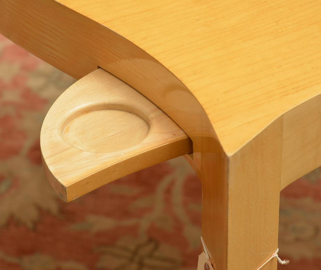 Designer shaped blonde wood bridge table - 3