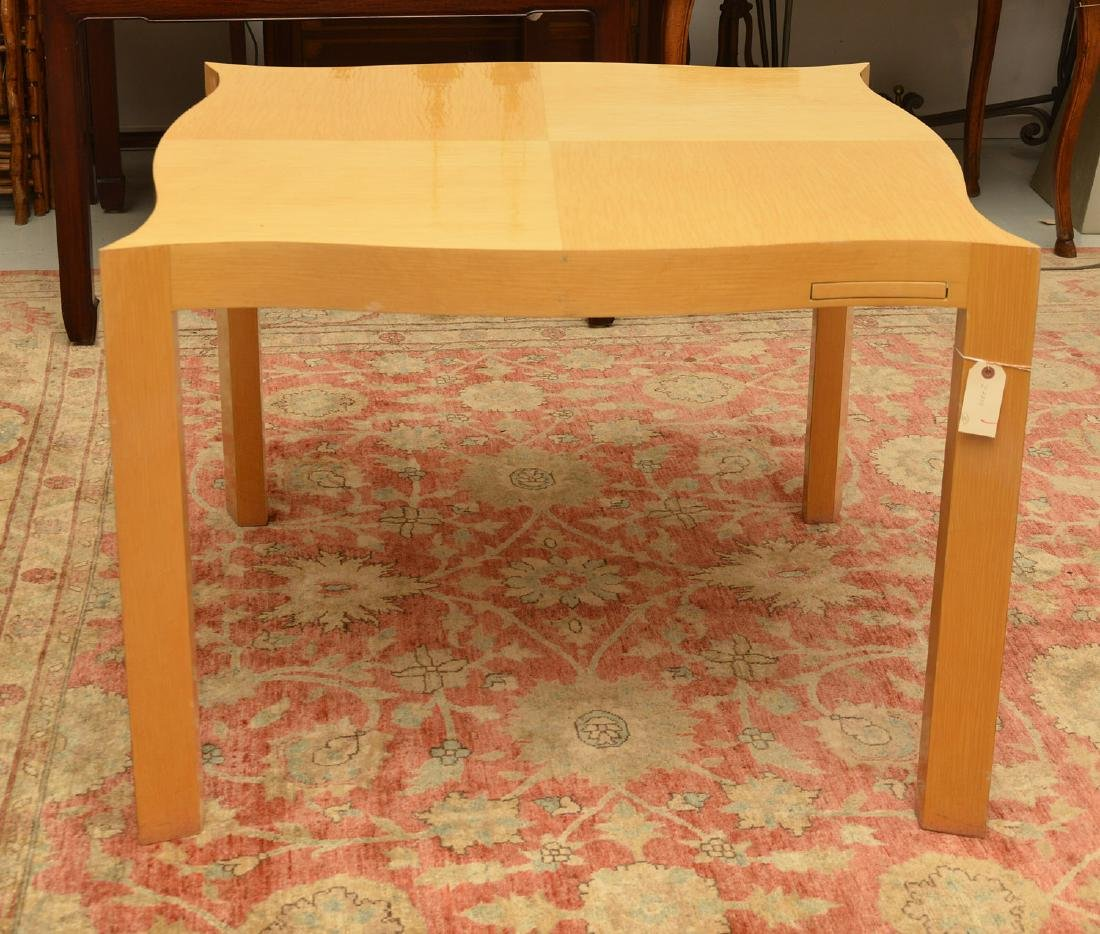 Designer shaped blonde wood bridge table - 4