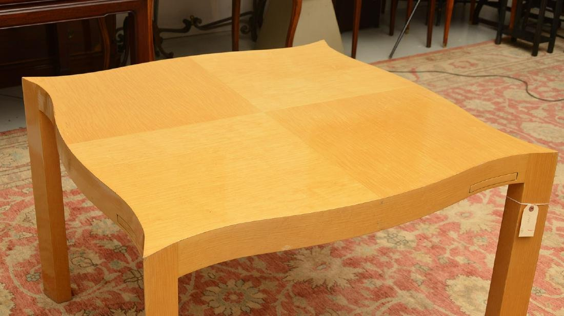 Designer shaped blonde wood bridge table - 6