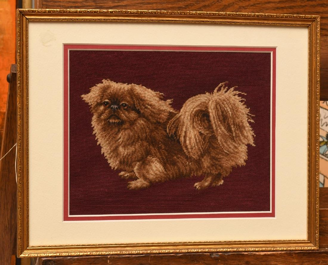 Needlepoint Pekingese dog panel