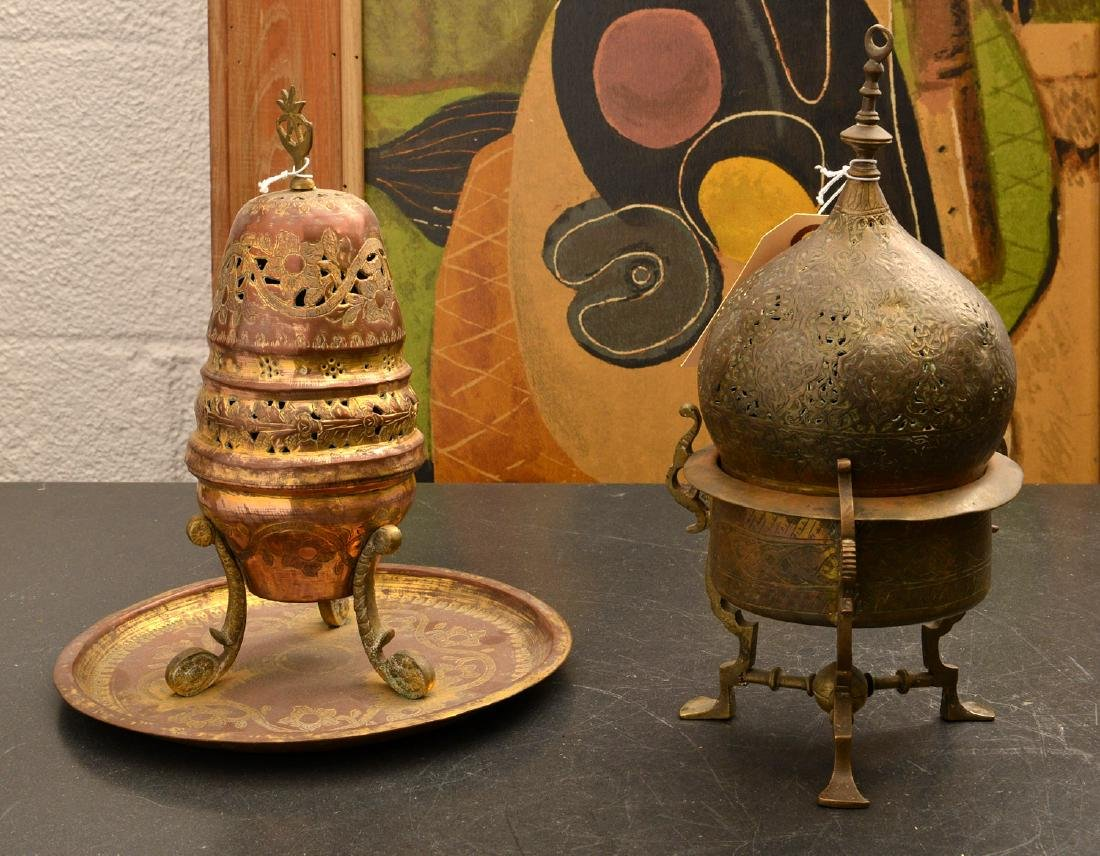(2) old pierced brass Islamic censers