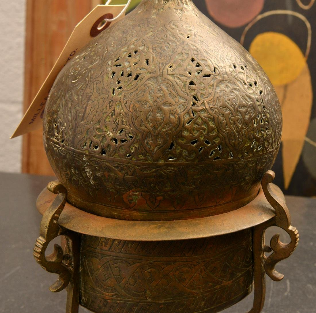 (2) old pierced brass Islamic censers - 3