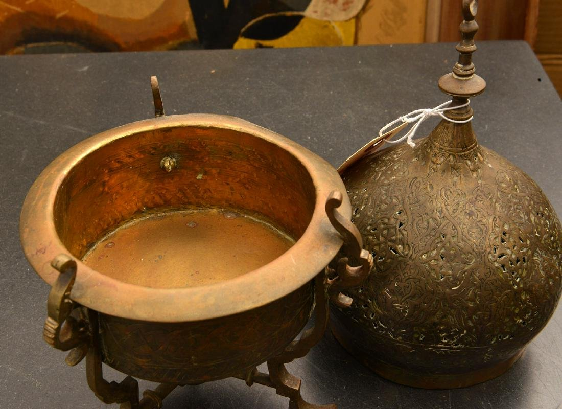 (2) old pierced brass Islamic censers - 4