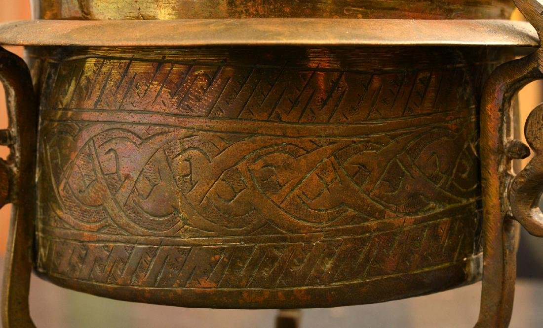 (2) old pierced brass Islamic censers - 6