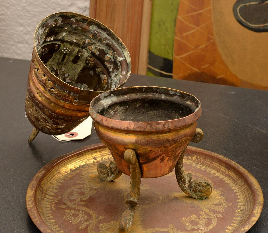 (2) old pierced brass Islamic censers - 9