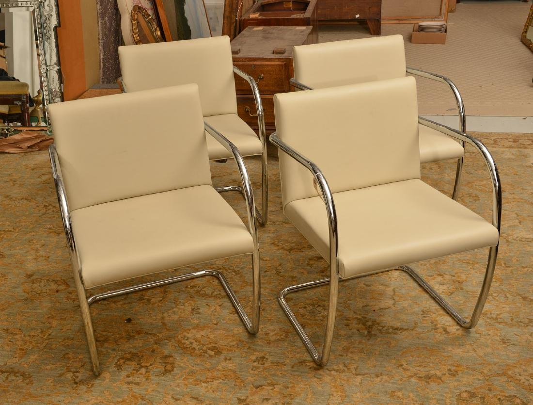 Set (4) Brno style tubular chairs in ivory leather