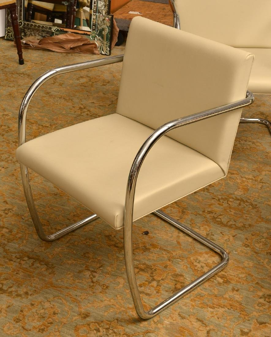 Set (4) Brno style tubular chairs in ivory leather - 2