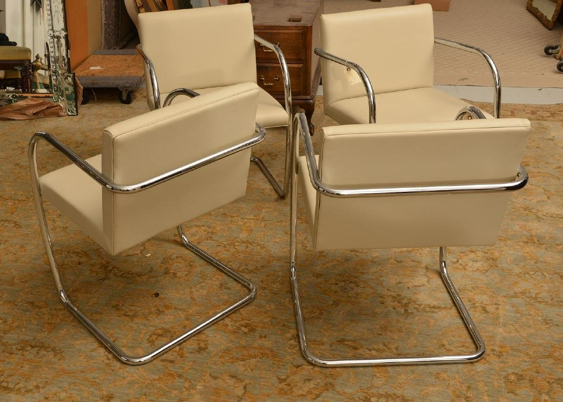 Set (4) Brno style tubular chairs in ivory leather - 3