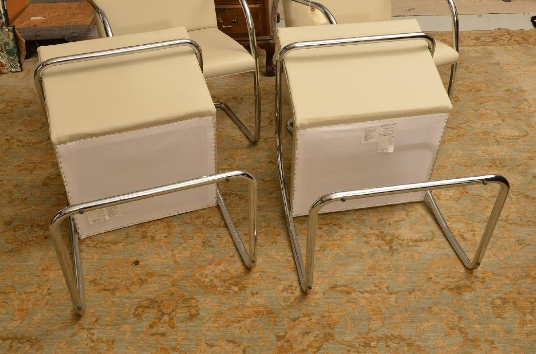 Set (4) Brno style tubular chairs in ivory leather - 4