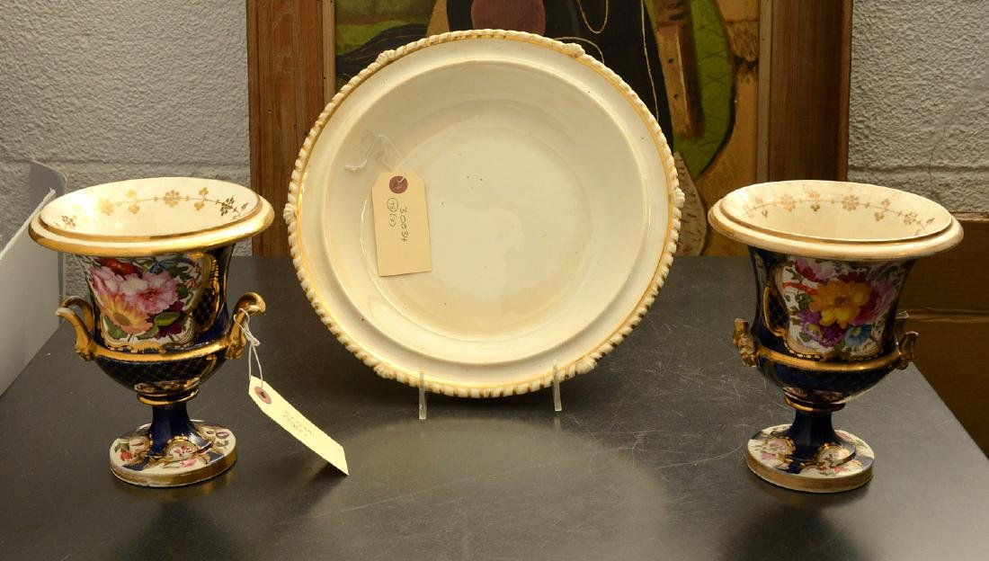 (2) Crown Derby style porcelain urn vases and dish