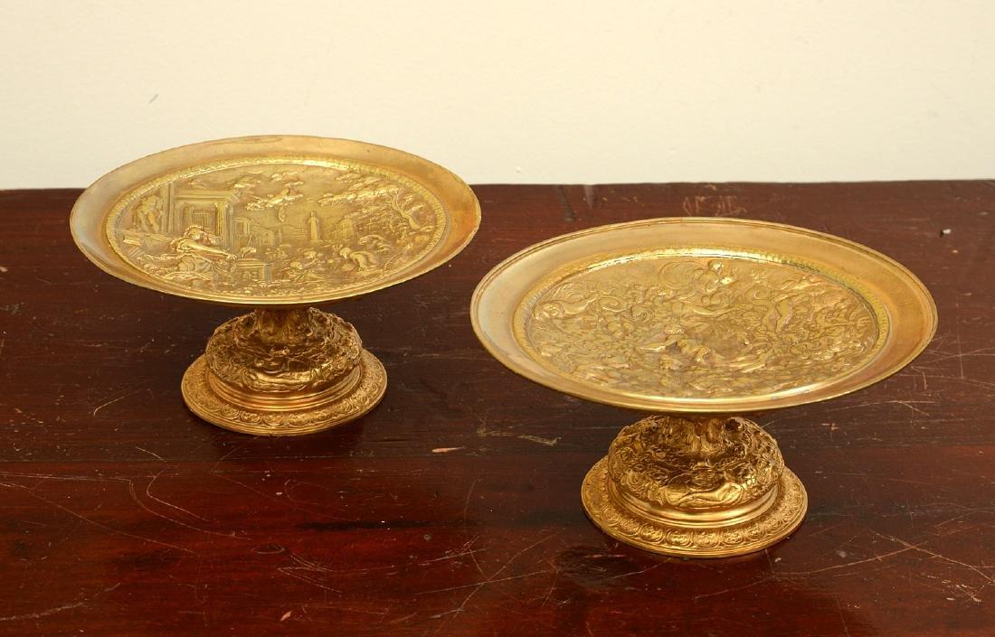 Pair bronze Renaissance style relief tazzas