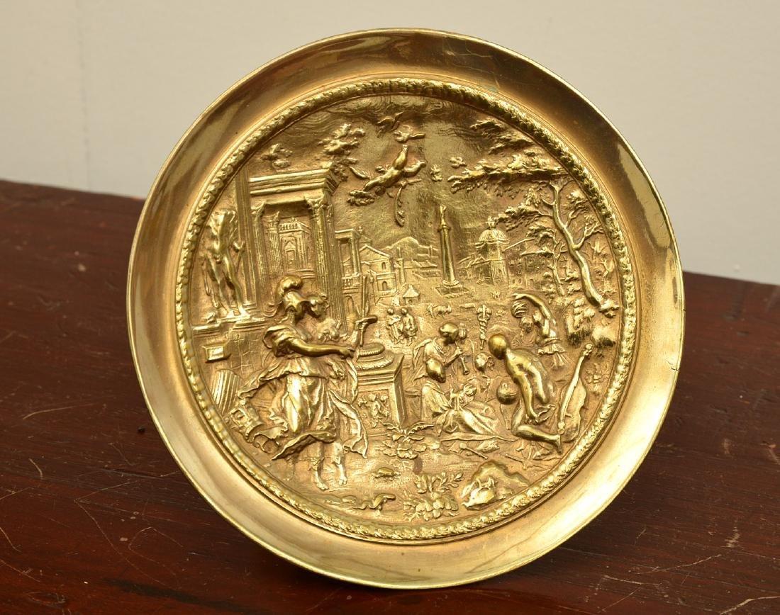 Pair bronze Renaissance style relief tazzas - 5