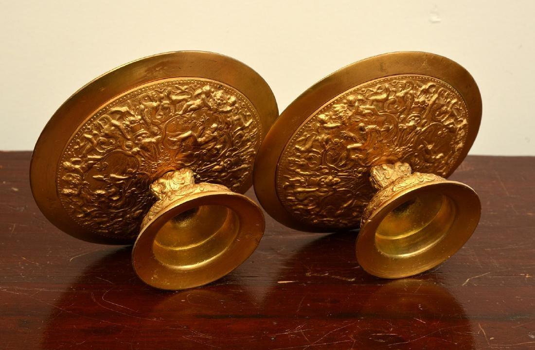 Pair bronze Renaissance style relief tazzas - 8