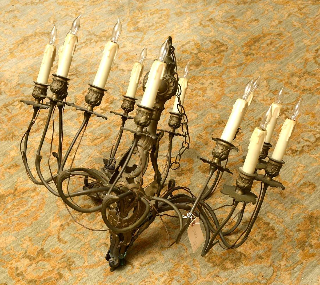 Vintage Italian baroque style bronze chandelier