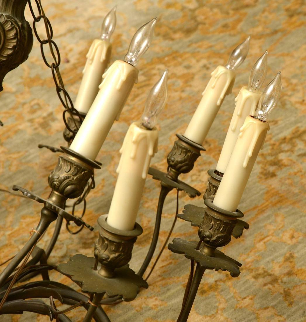 Vintage Italian baroque style bronze chandelier - 2