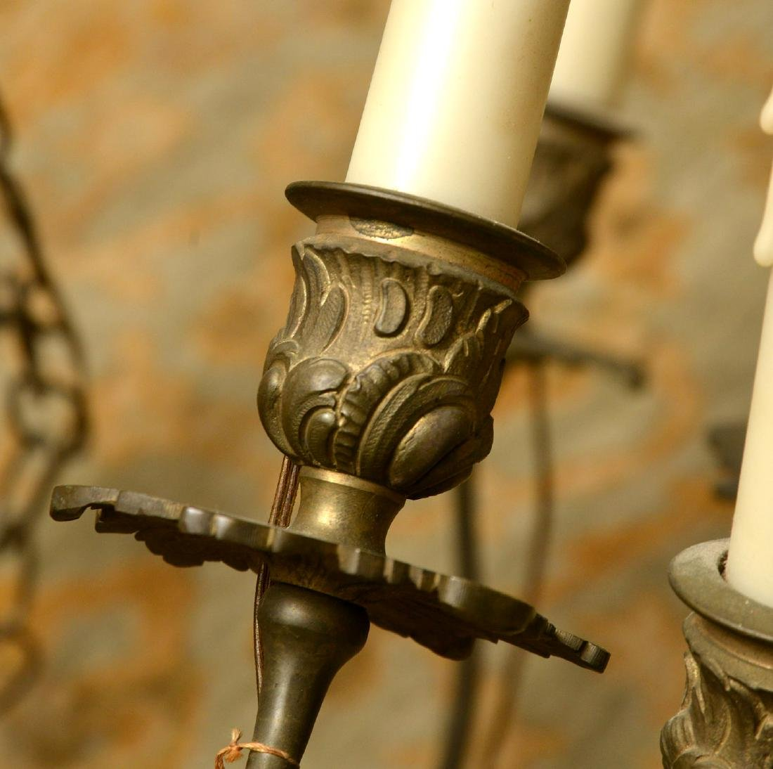 Vintage Italian baroque style bronze chandelier - 3
