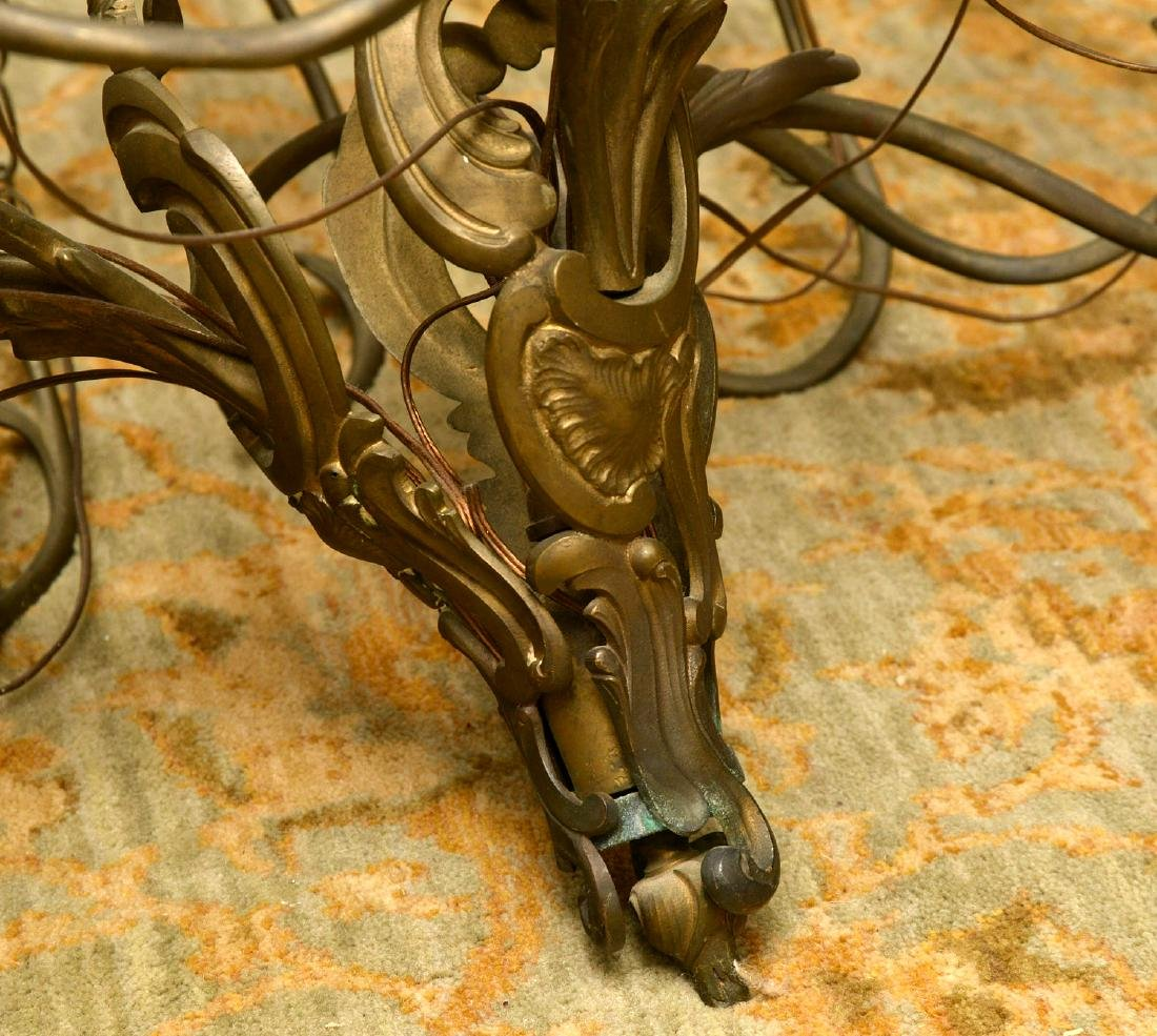Vintage Italian baroque style bronze chandelier - 5