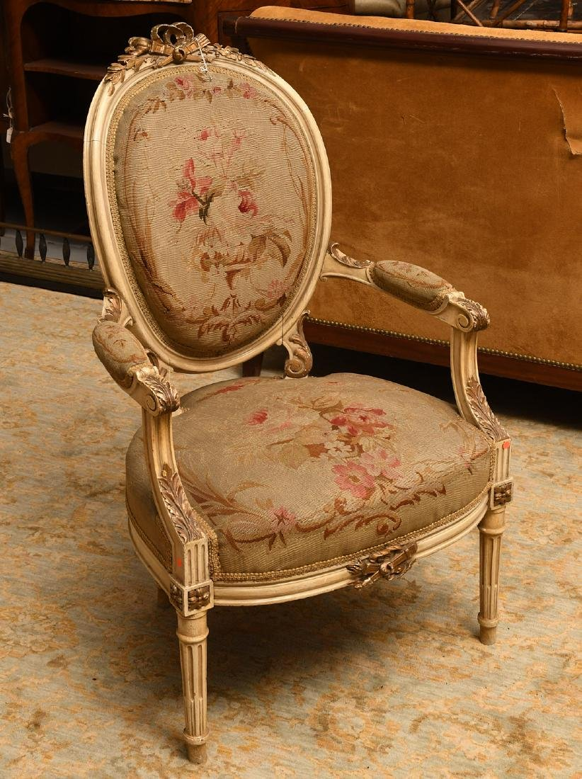 Nicely carved Louis XVI style fauteuil