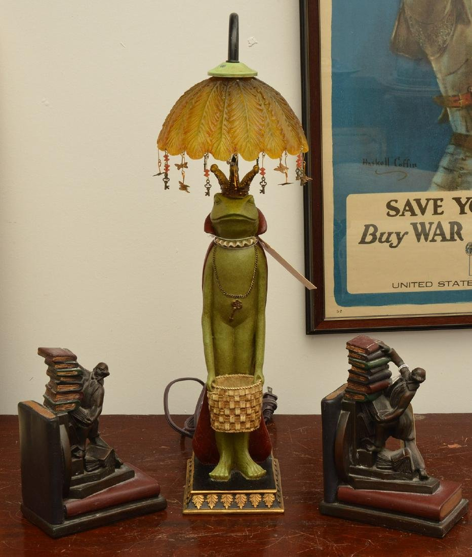 Frog prince lamp and figural bookends