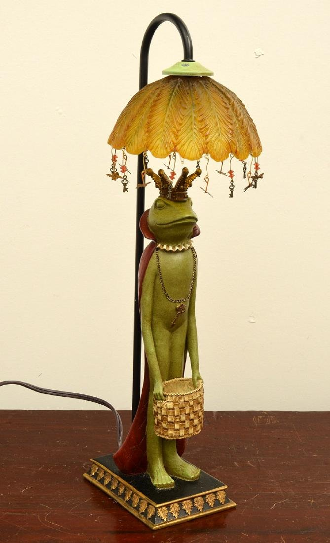 Frog prince lamp and figural bookends - 2