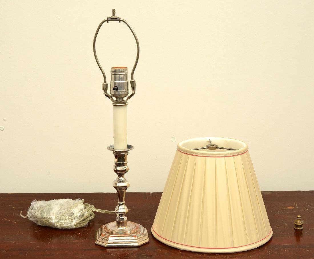 Silver plate candlestick lamp - 4