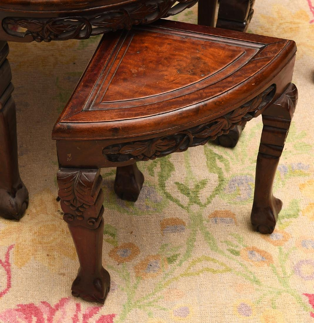 Carved Chinese hardwood tea table with stools - 3