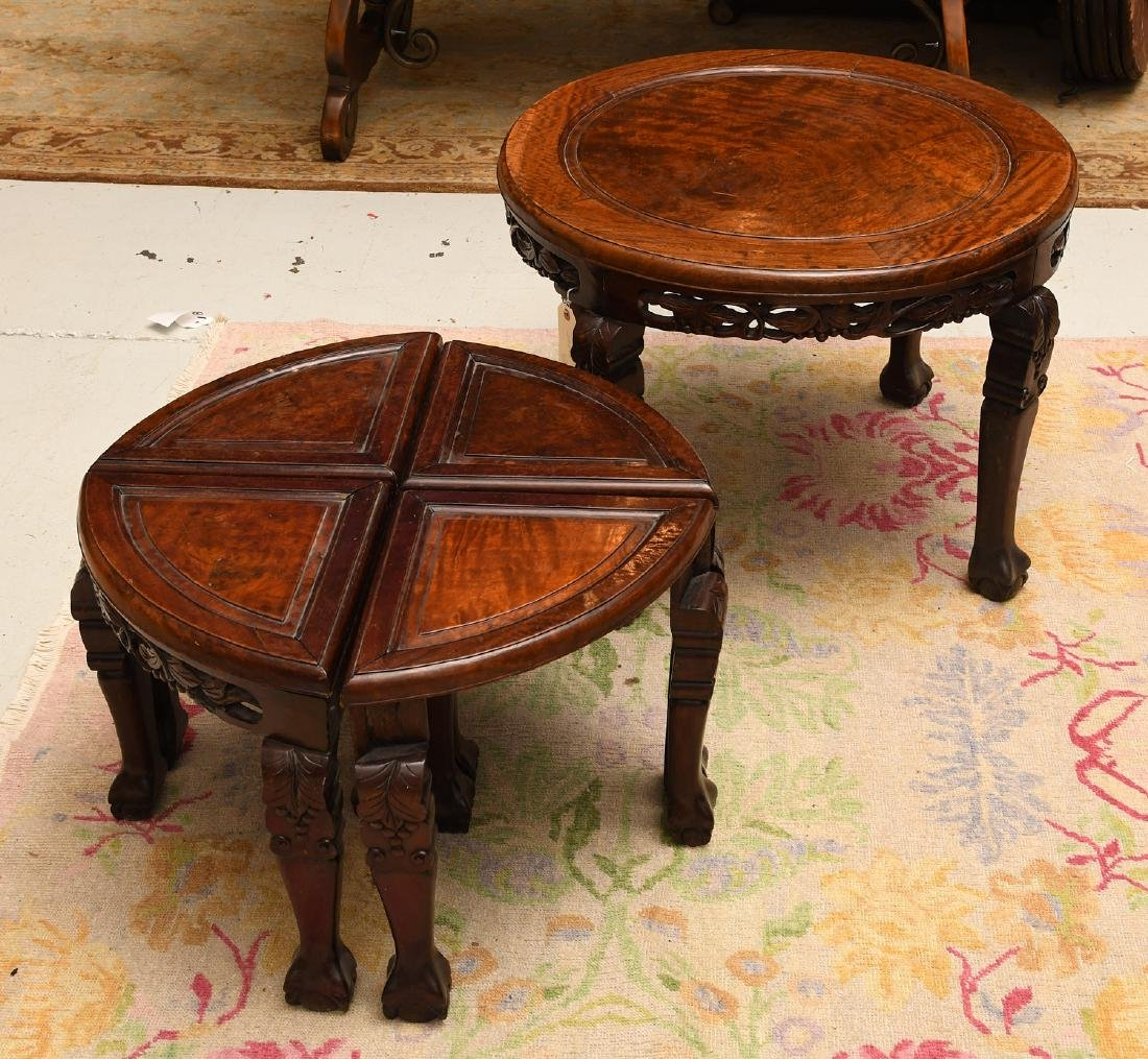 Carved Chinese hardwood tea table with stools - 5