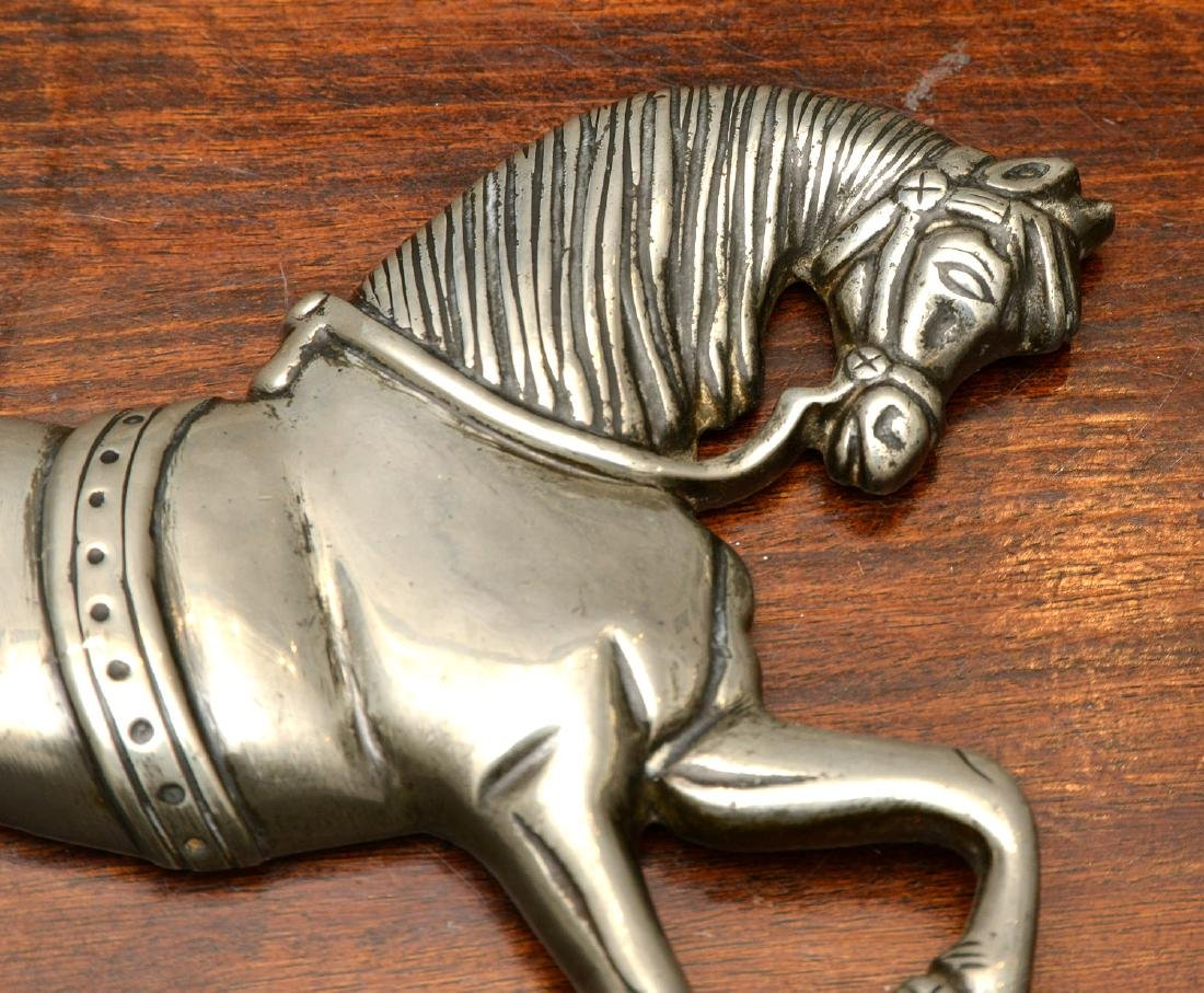 (2) Pairs horse themed pewter fire decorations - 7