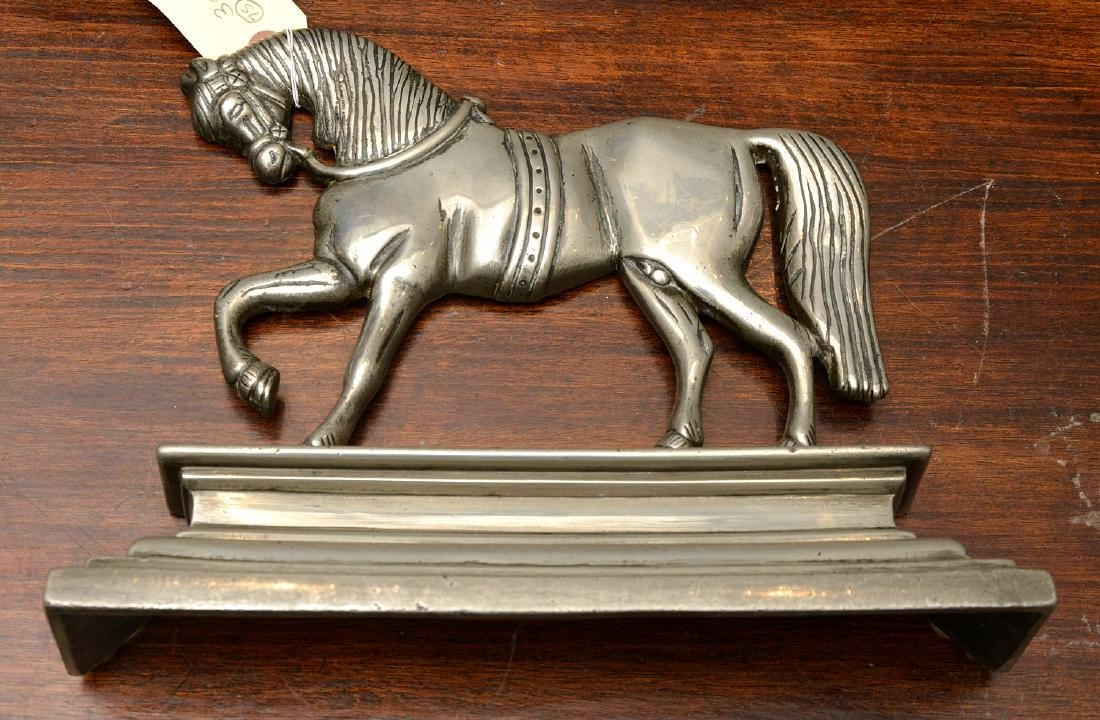 (2) Pairs horse themed pewter fire decorations - 8