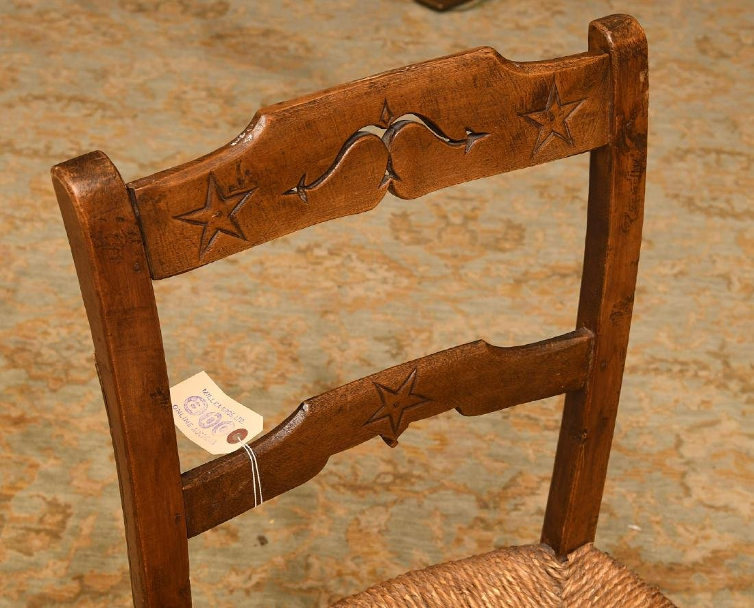 Provincial hand carved oak side chair - 2