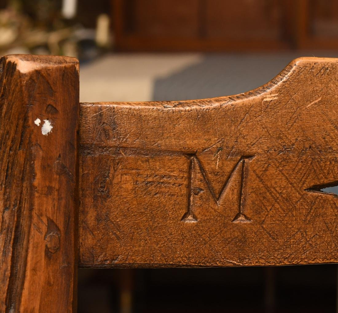 Provincial hand carved oak side chair - 6