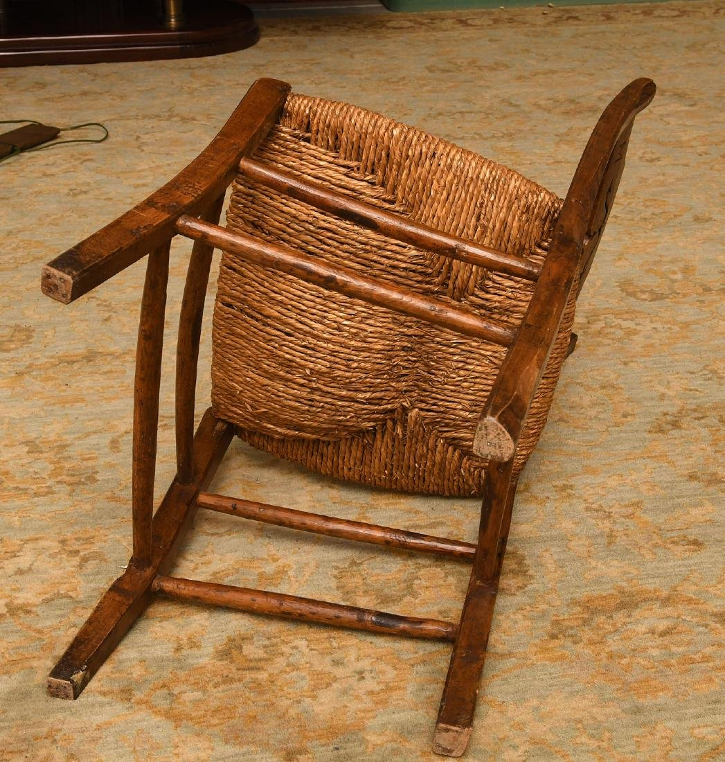 Provincial hand carved oak side chair - 9