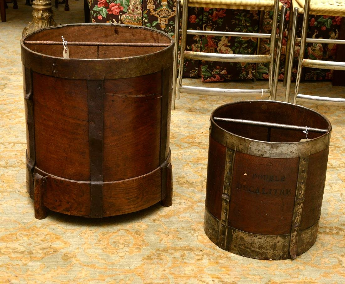 (2) French grain measuring pails