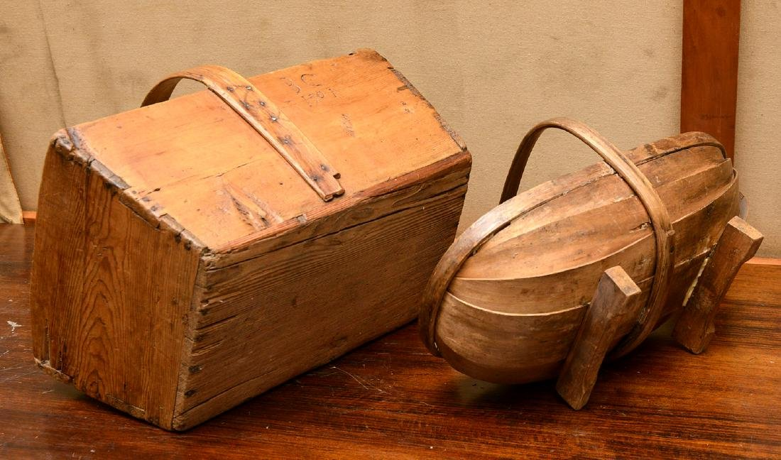 (2) Shaker carved wood carriers - 10