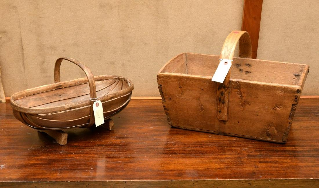 (2) Shaker carved wood carriers