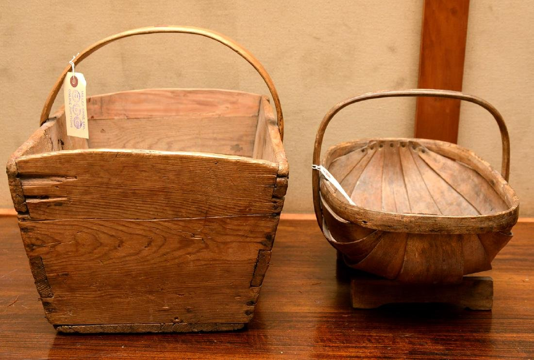 (2) Shaker carved wood carriers - 9