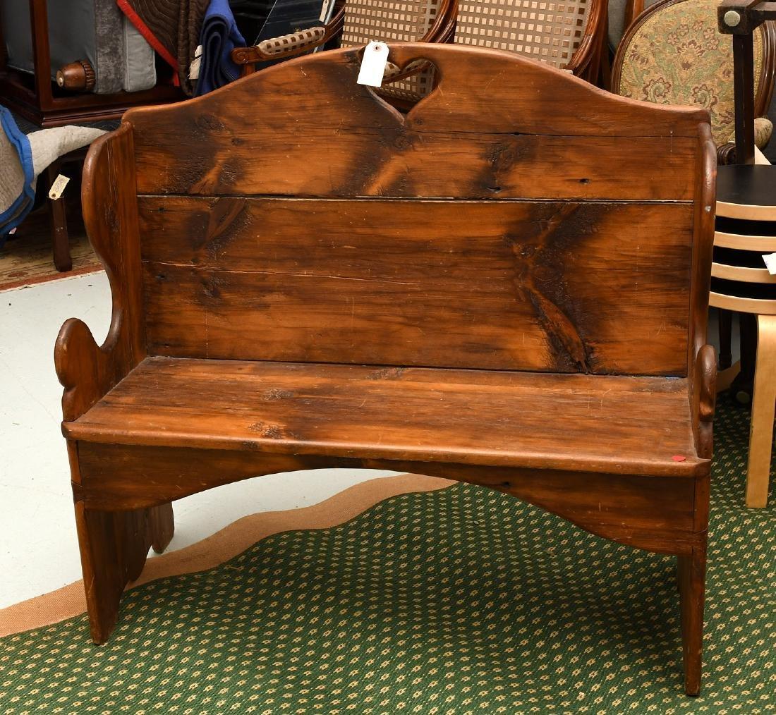 Country pine folk art bench
