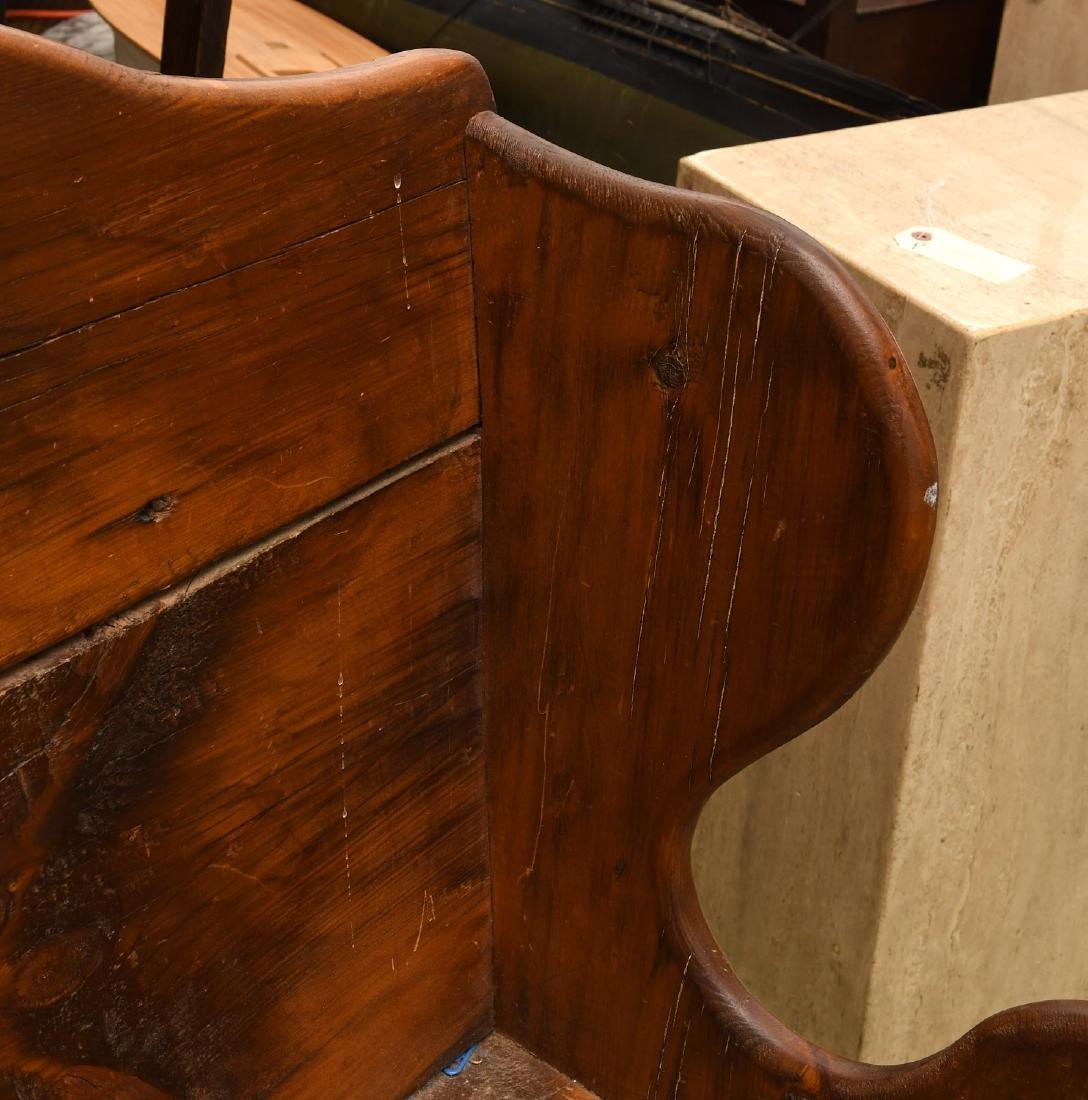 Country pine folk art bench - 3