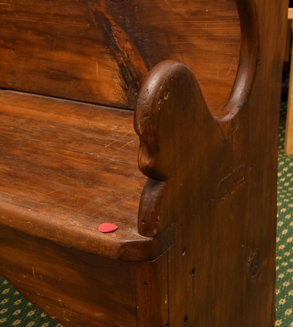 Country pine folk art bench - 5