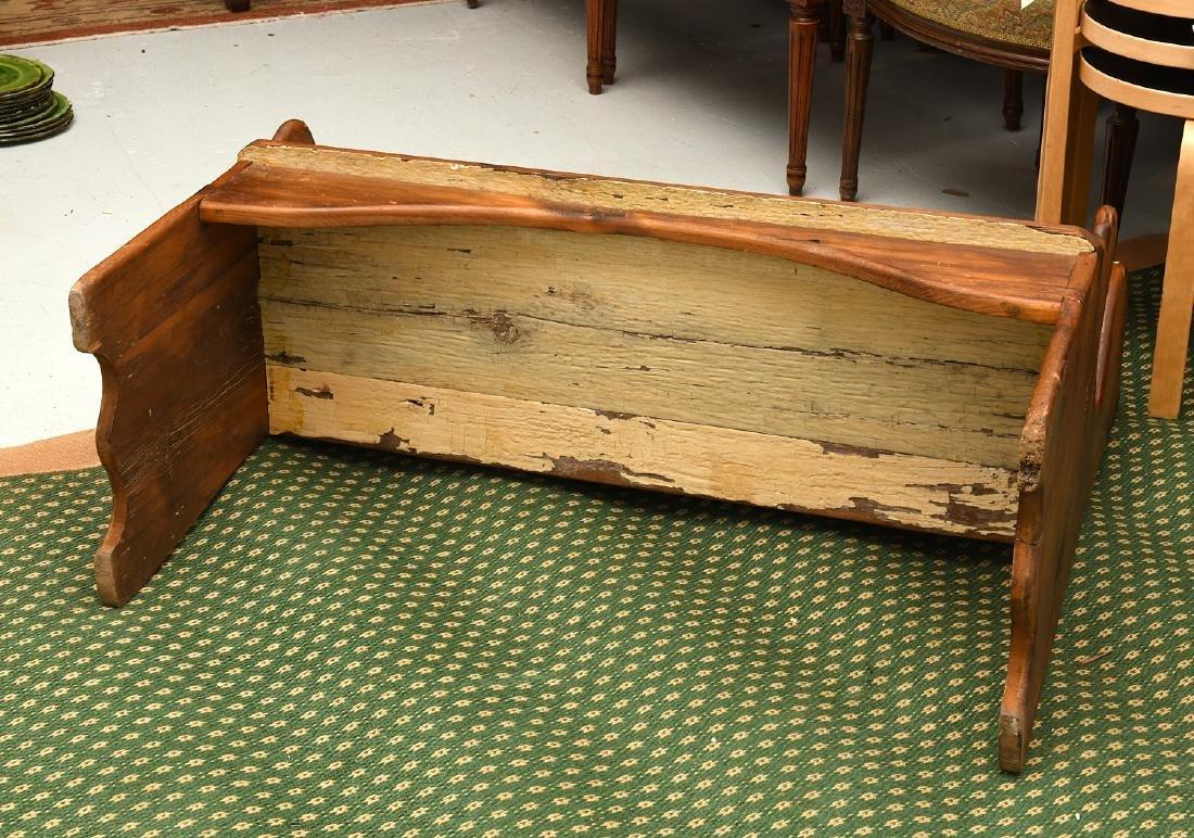 Country pine folk art bench - 9