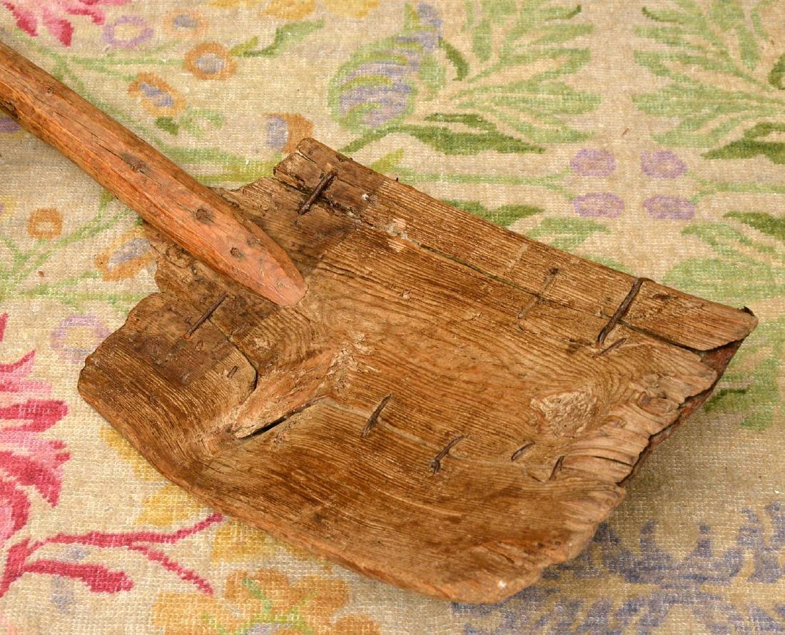 (4) rustic wooden farm shovels, pitch forks - 2