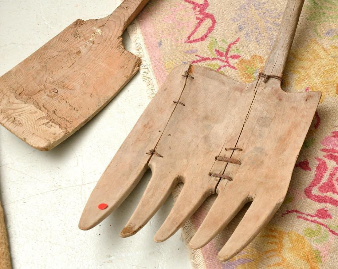 (4) rustic wooden farm shovels, pitch forks - 4
