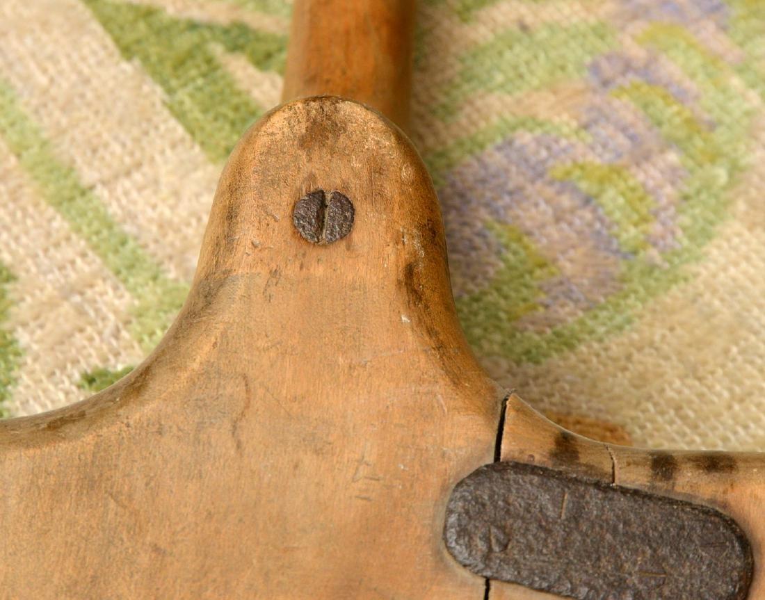 (4) rustic wooden farm shovels, pitch forks - 7